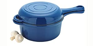 Chasseur Cast Iron 3040FB French Combi Cook Sauce Pan with Fry Pan Lid, French Blue