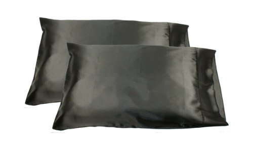 2pc New Queen/Standard Silk~y Satin Pillow Case Multiple Colors (Black)