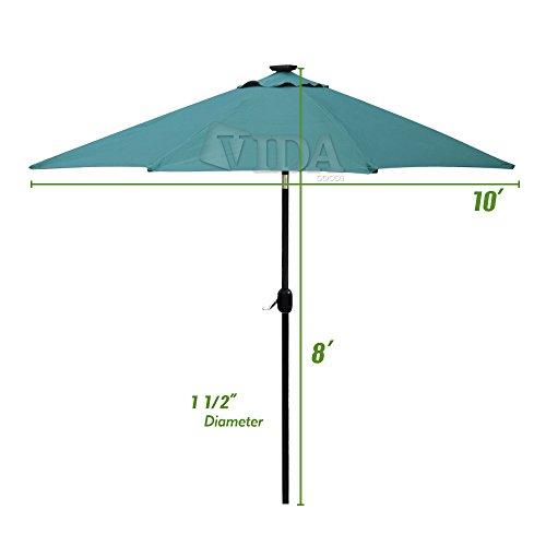 Build in solar led aluminium patio umbrella light deck for Solar patio umbrella replacement parts