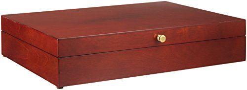 Reed & Barton Flatware Chest Mahogany Finish Brown Tarnish Proof Fabric Lining Brass Lid Hardware (Silverware Storage Chest compare prices)
