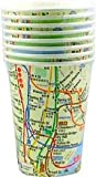 City-Souvenirs New York City Subway Map Paper Cups, 9 oz, Set of 8