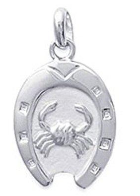 pendentif en argent 925 000 fer cheval avec signe astrologique cancer bijoux femme homme. Black Bedroom Furniture Sets. Home Design Ideas