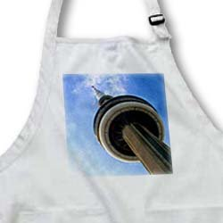 CN Tower Tronto Ontario Canada - BLACK Full Length Apron With Pockets 22w X 30l