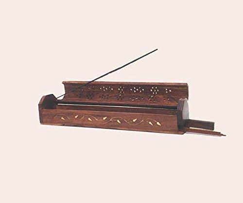 Hoja - incienso de madera sólida caja de varitas de incienso con colector de cenizas y cono quemador