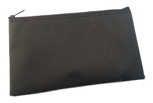 Bank Deposit Check Wallet, Black Nevatear Zipper Bag, 11 x 6 Inches