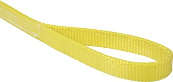 Mazzella EE2 Polyester Web Sling, Eye-and-Eye, Yellow, 2 Ply, Flat Eyes, Vertical Load Capacity