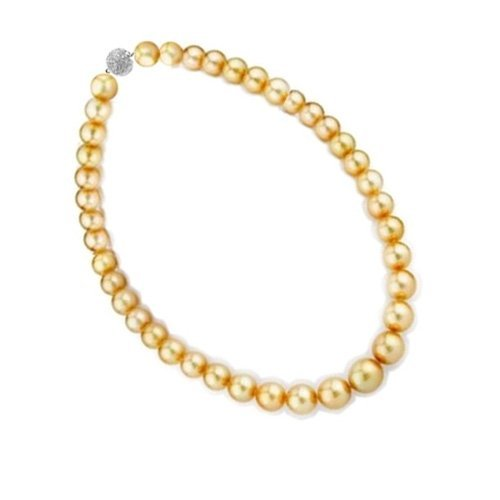 Bling Jewelry 10mm South Sea Shell Golden Pearl Bridal Necklace