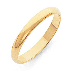 Genuine IceCarats Designer Jewelry Gift 10K 3Mm Half-Round Band Size 6.00