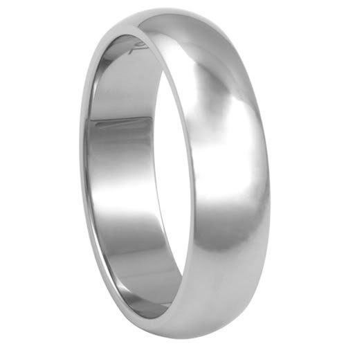 316L Stainless Steel 6mm High Polish Finish Comfort Fit Plain Rounded Design Wedding Ring Band (Sizes 5 to 14) - Size 12