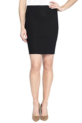 Rekucci Women's Ease In To Comfort Stretchable Above The Knee Pencil Skirt 19″ (X-Large,Black)