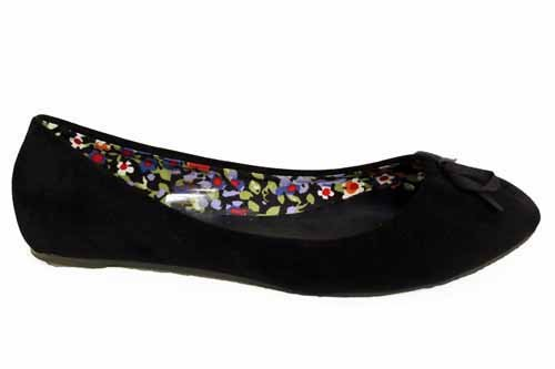 F1293AS Womens Black Bow Ballet Flat Slip On