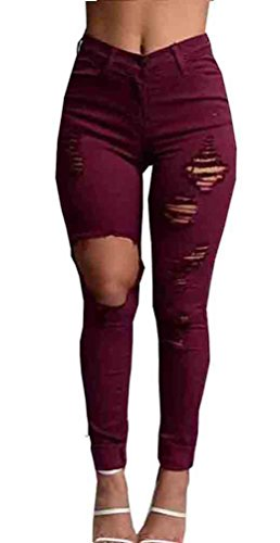 Uncinba Women's Sexy Casual Skinny Jeans with Holes Red Large