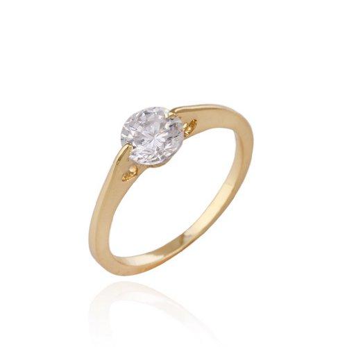 C-Princessリング 指輪 18Kゴールドメッキ コーティング ラインストーン レディース 女性 アクセサリー ジュエリー エンゲージリング スタイリッシュ バレンタインデー (9)