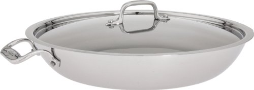 All-Clad 4413 Stainless Steel Tri-Ply Bonded Dishwasher Safe Paella Pan with Lid Cookware, 13-Inch, Silver