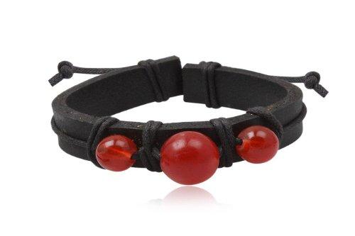 Fashion Black & Red Leather Wrap Cuff Rasta Bracelet Bangle Men's Jewelry