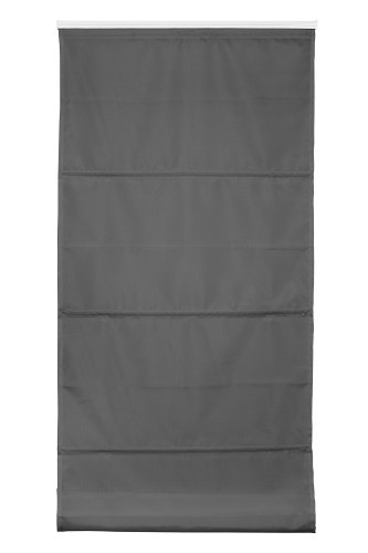 Wohn-Guide Raffrollo Klemmfix TOP verspannt Grau, ohne Bohren mit Klemmträger 80 cm x 210 cm (B x L)