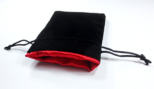 4x5 Dragon Fire Red Premium Black Velvet Dice Bag with Strong Red Satin Lining (Dice Bag Capacity is 5 Sets / 35 Dice)