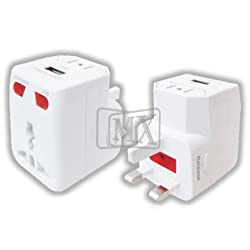 MX-2988 UNIVERSAL TRAVEL ADAPTOR WITH USB CHARGER, WITH INDICATOR AND FUSE (Color May Vary)