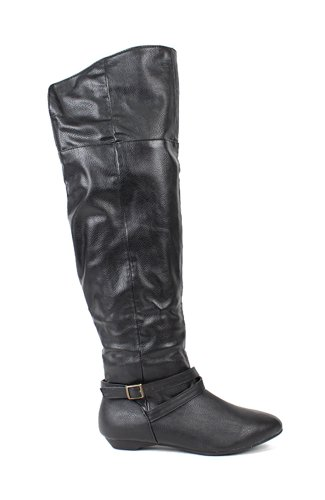 Bamboo Zoria-57 Leatherette Thigh High Buckle Boot - Black PU