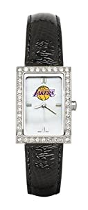 Los Angeles Lakers Ladies Allure Black Leather Strap Watch by Logo Art