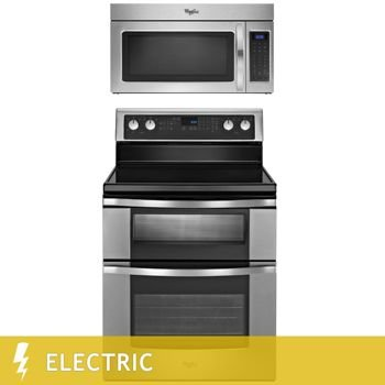 2-Piece Stainless Steel Kitchen Suite 6.7CuFt Double Oven ELECTRIC Range with 1.7CuFt 1,000 Watt Microwave Hood Combination