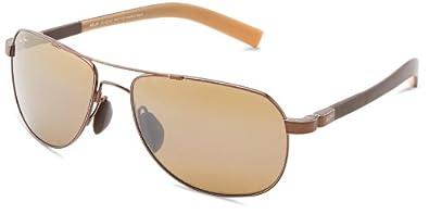 Maui Jim Guardrails H327-23 Polarized Aviator Sunglasses,Metallic Gloss Copper Frame/HCL Bronze Lens,One Size