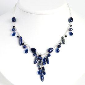 Sterling Blue Sandstone Blue Cult. Pearl Necklace - 16 Inch - Lobster Claw - JewelryWeb