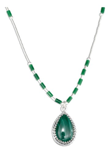 Sterling Silver 16 inch Liquid Silver Roped Teardrop Malachite Necklace
