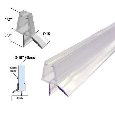 "Find Bargain Clear Shower Door Bottom Sweep with Drip Rail for 3/16"" Glass - 35 in long"
