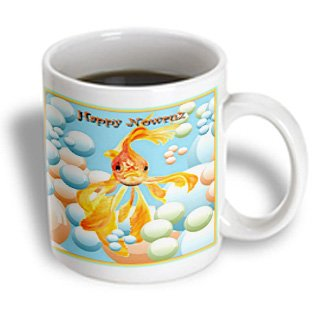 3Drose Happy Nowruz, Iranian/Persian New Year, March 21, Fantail Goldfish, Ceramic Mug, 15-Oz