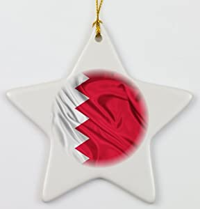 Rikki KnightTM Bahrain Flag Porcelain Star Ornament