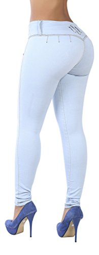 Curvify 765 Premium Women's Enhanced Butt Liftting Skinny Jeans Light Blue 9 (Light Blue Strech Jeans compare prices)