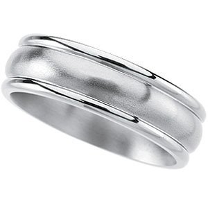 7mm Titanium Satin and Polished Grooved Dome Band, Comfort Fit Size 10.5