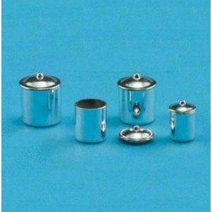 Dollhouse Canister Set, Stainless Steel, 3pc by Superior Dollhouse Miniatures