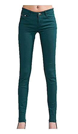 niceeshop(TM) Casual Pencil Skinny Leg Jeggings Pants Stretchy Jeans(Atrovirens, S)