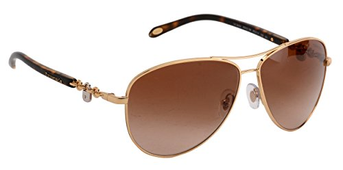 15c1cba5c2f Tiffany   Co Aviator TF3034 60023B Gold Frame Brown 60 mm Lens Sunglasses  NEW - Tiffany