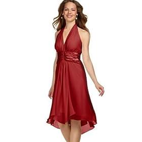 London Times Silk Tie-Back Halter Dress