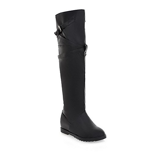 VogueZone009 Womens Closed Toe Round Toe Mid Heel PU Soft Material Solid Boot with Strap Buckle