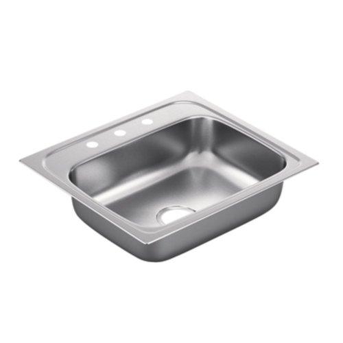 Moen G221983 2200 Series 22 Gauge Single Bowl Drop In Sink, Stainless Steel