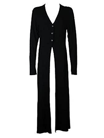 The Home of Fashion Womens Black Gothic Style Full Length Long Sleeve Cardigan (18 (XXL))
