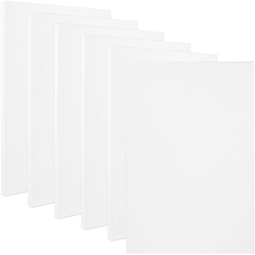US Art Supply® Professional Quality 11″ X 14″ Stretched Canvas 6-pack Made in USA 12 Ounce Primed Gesso – Great for Students and Professional Artists (This Kit Is for a Full Case Pack of 6 Canvases