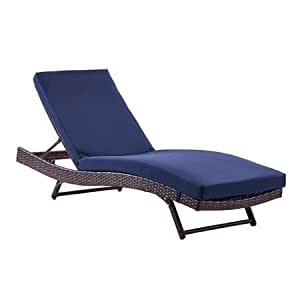 Dhi south chaise wicker lounge with cushion for Blue chaise lounge cushions