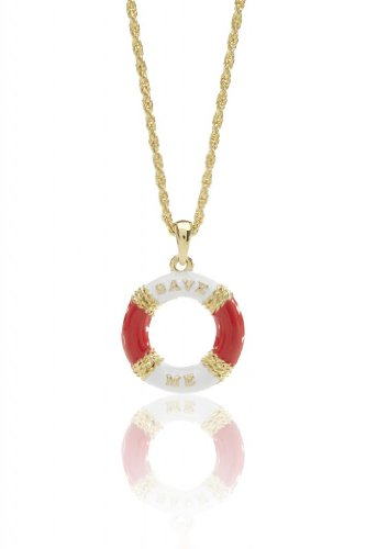 Pendant Necklace Gold Jewelry For Women or Girls Charm Lifesaver w/ Red Enamel