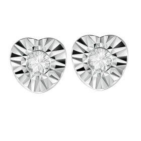 Sterling Silver Heart Diamond Stud Earrings