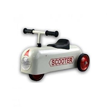 Porteur scooter vintage métallique blanc - Protocol - 801SC