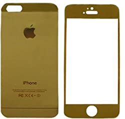 Macc Tempered Glass Golden Front And Back Mirror Screen Guard for Apple iPhone 4/4S
