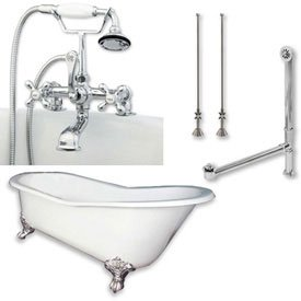 Cambridge Plumbing St67-463d-Pkg-Cp-7dh Bathtub Set W/Cast Iron Slipper Clawfoot Tub 67