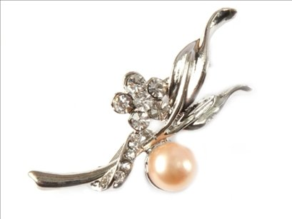7-8mm pink freshwater pearl beads with gold plated flower brooch 20x45mm