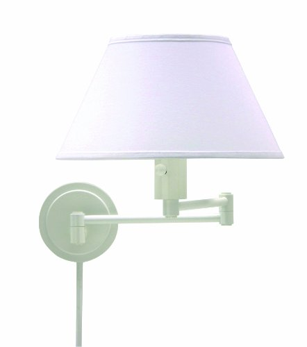 House Of Troy Ws14-9 Home/Office Collection Swing-Arm Wall Lamp, White With White Linen Hardback Shade