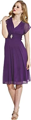 Short Sleeve Mesh Knee-Length Bridesmaid Dress